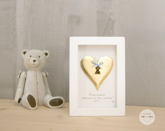 Personalized Boy Girl Gift  - Birth personalized gift - Art frame Heart and pendant Bear - 3D paper - gold leaf - frame with glass