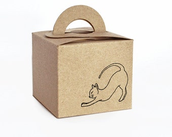 Stretching Kitty Mini Gift Box Set: Set Includes Kraft Box, Tag, Sticker & Shredded Paper! (Some DIY Assembly Required)