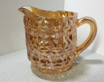 Jeanette Glass Holiday Buttons and Bows Pitcher, Gold Pitcher, Milk Pitcher, Gold Glassware