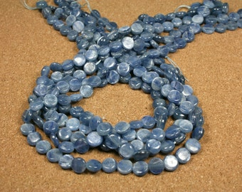 Blue Kyanite Coin Beads - Smooth Shiny Kyanite Beads, 16 inch strand
