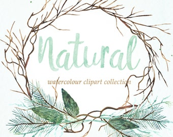 Natural winter forest PINE watercolor Clipart Winter watercolor, mint green, branches, wedding invitation, wreath  and arrangements, wood.