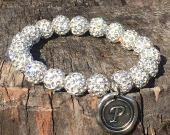White Shamballa Bead Bracelet with Initial of your choice
