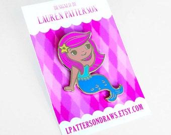 Pink Mermaid Enamel Lapel Pin Button Broach Flair