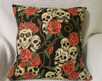 Skulls and Roses cushion cover.  Alexander Henry fabric. Hand made. Goth. Steam Punk.