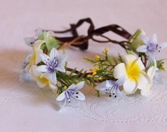 Frangipani and agapanthus Flower Crown / spring, nature, woodland, blue, handcrafted, elegant