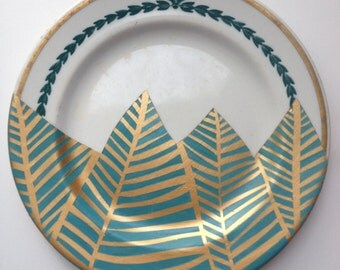 teal and gold geometric design: upcycled, repurposed, decorative plate with abstract leaf design