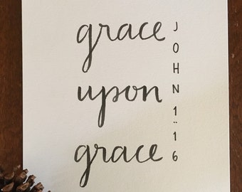 John 1:16 Bible Verse Typography Print