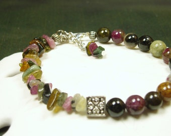 Tourmaline Sterling Bracelet/ October Birthstone/ Natural Mulitcolor