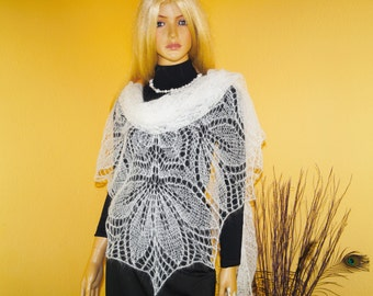 White large hand knitted mohair shawl