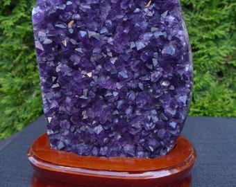 Specimen of Extra Quality Uruguayan Amethyst offering Quartz Crystals of a Deep and/or a Bright Violet-Purple/Indigo Color