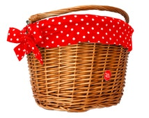 Wicker bike basket with polka dot liner, red. Great gift for a lady cyclist