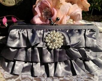 Vintage Ruffled Grey Satin Clutch Handbag