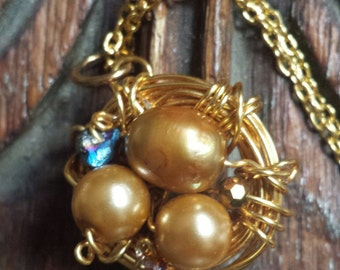 Gold Wire Bird's Nest Pendant Necklace