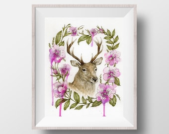 Deer with Dog Roses - Watercolour Stag Ink Illustration Pink Wild Roses Fine Art Print - 8x10""