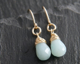 Amazonite, Teardrop Earrings, 14K Gold Fill, Wire Wrapped, Gemstone Earrings, Briolette Earrings, Small, Simple, Drop Earrings, Tiny, Boho