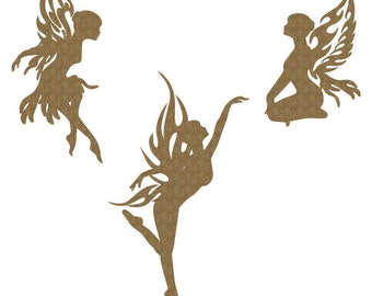 Fairies Set of 3 Laser Cut Chipboard FREE SHIPPING! in US and Canada