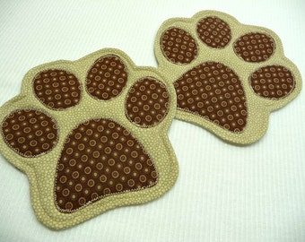 Paw Print Mug Rugs - Choose Colors - Set of 2 - Mug Rugs - Coasters - Paw Print Coasters - Dog Mug Rugs - Dog Coasters