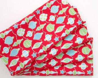 Christmas Napkins - Set of 4 - Cloth Napkins - Red Green Blue White Ornaments - Everyday, Dinner, Table