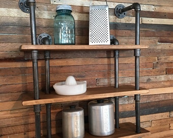 3shelf industrial gas pipe wall shelf with towel bar