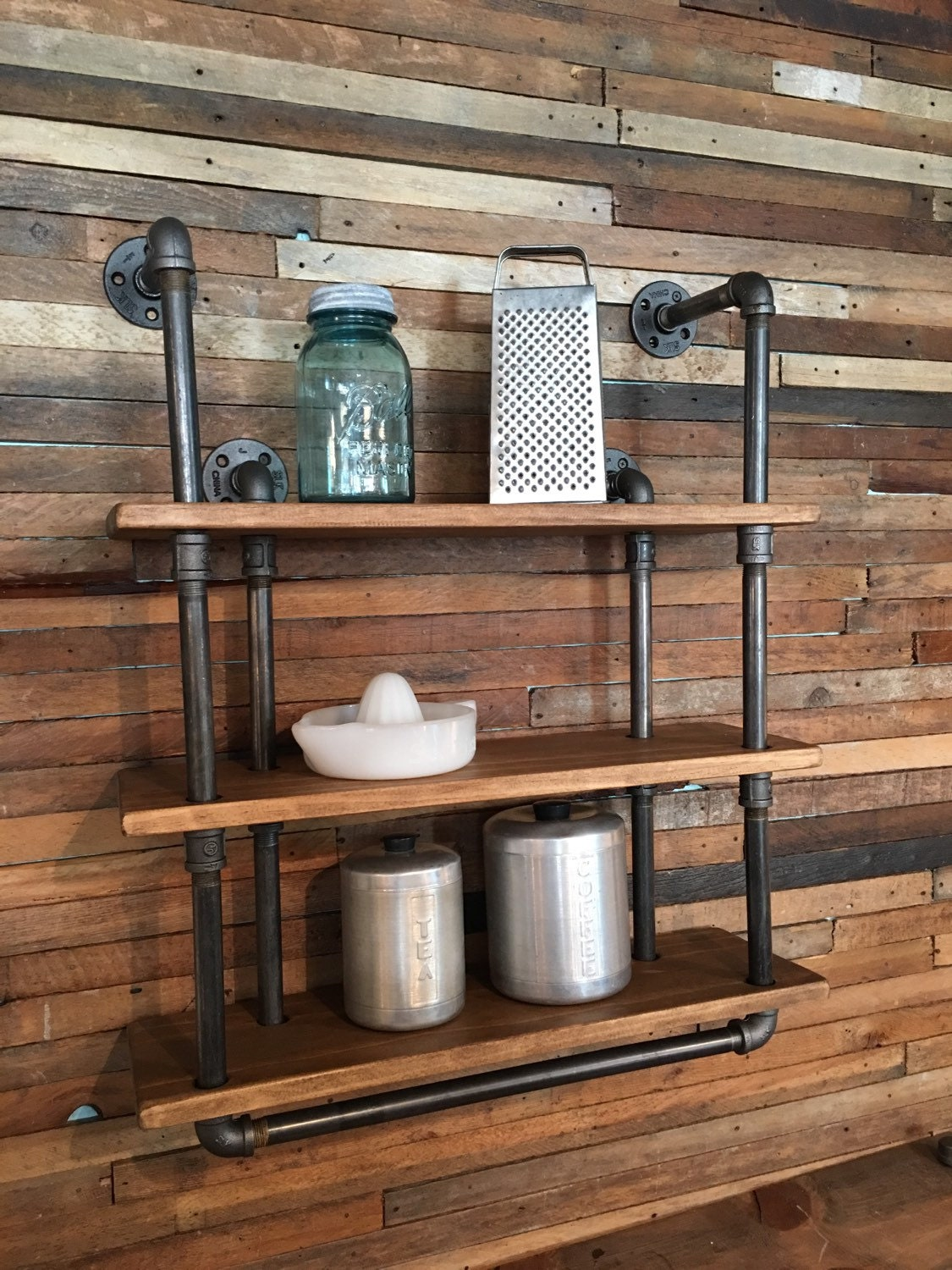 3 shelf industrial gas pipe wall shelf with towel bar. Black Bedroom Furniture Sets. Home Design Ideas