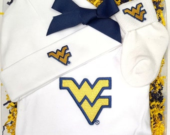 West Virginia Mountaineers 3 Piece Baby Clothing Gift Set