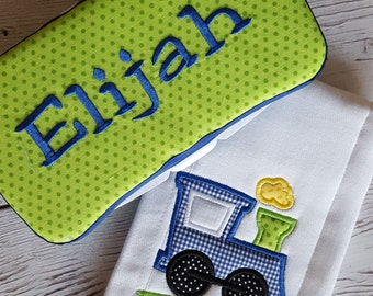Baby Boy Train Shower Gift Set Burp Cloth Wipes Case Appliqued Personalized
