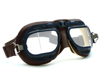 RAF Mark 8 WW2 Goggles/ RAF Blue Frames/ Brown Leather and Chamois Leather Facemask for Motorcycles/ Aviation