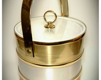 Vintage Shelton Ware Inc Ice Bucket/ Gold Silver Copper banded Ice Bucket/ Super Glam Hollywood Regency Ice Bucket/Housewarming Gift / F1209