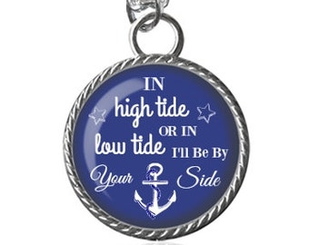 Nautical Necklace, Love Quote, I'll Be By Your Side Image Pendant Key Chain Handmade