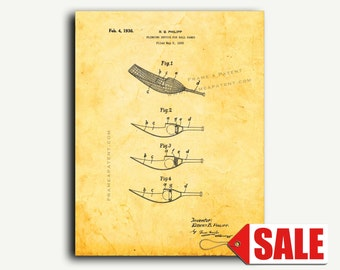 Patent Print - Flinging Device for Ball Games Patent Wall Art Poster