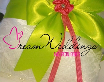 Lime Green and pink Ring Bearer Pillow