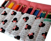 Pencil Roll Up case, Minnie Mouse, Adult Coloring Case, Colored Pencil Case
