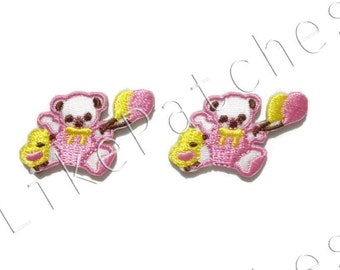 Set 2 pcs. Cute Bear and Chick - Yellow & Pink Balloon New Sew / Iron On Patches Embroidered Applique Size 3.2cm.x2.3cm.