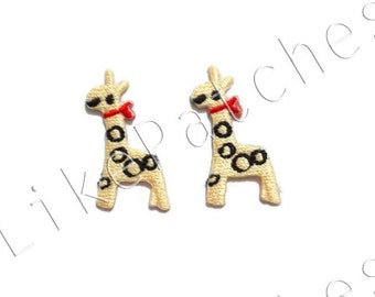 Set 2 pcs. Happy Mini Giraffe - Red Scarf Patches Sew / Iron on Patches Embroidered Applique Size 2.2cm.x3.5cm.