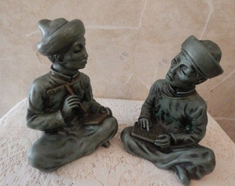 Universal Statuary Corp Asian Scholar Book Ends / Statues