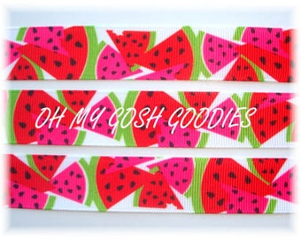 """WATERMELON SLICES SEEDS Red Pink Grosgrain Ribbon 7/8"""" - 5 Yards - Oh My Gosh Goodies Ribbon"""