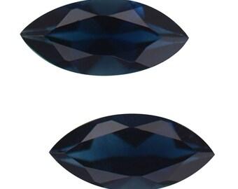 Blue Indicolite Tourmaline Gemstones Set of 2 Marquise Cut 1A Quality 5x2.5mm TGW 0.20 cts.