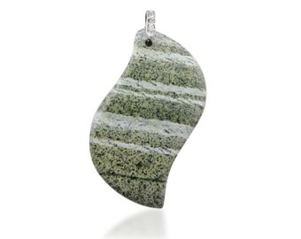Green Silver Line Jasper Free Form Pendant Silver-tone  Without Chain