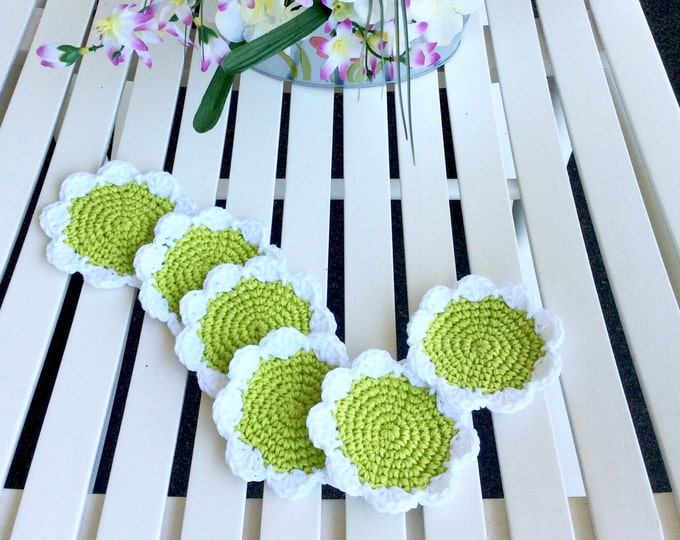 Lime Green Crochet Flower Drink Crochet Coasters