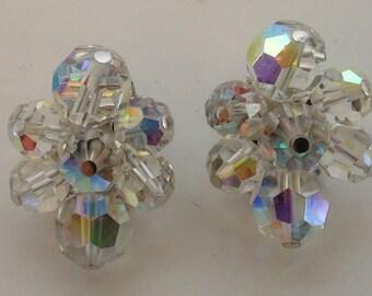 SALE! Sherman Aurora Borealis Austrian Crystal Earrings