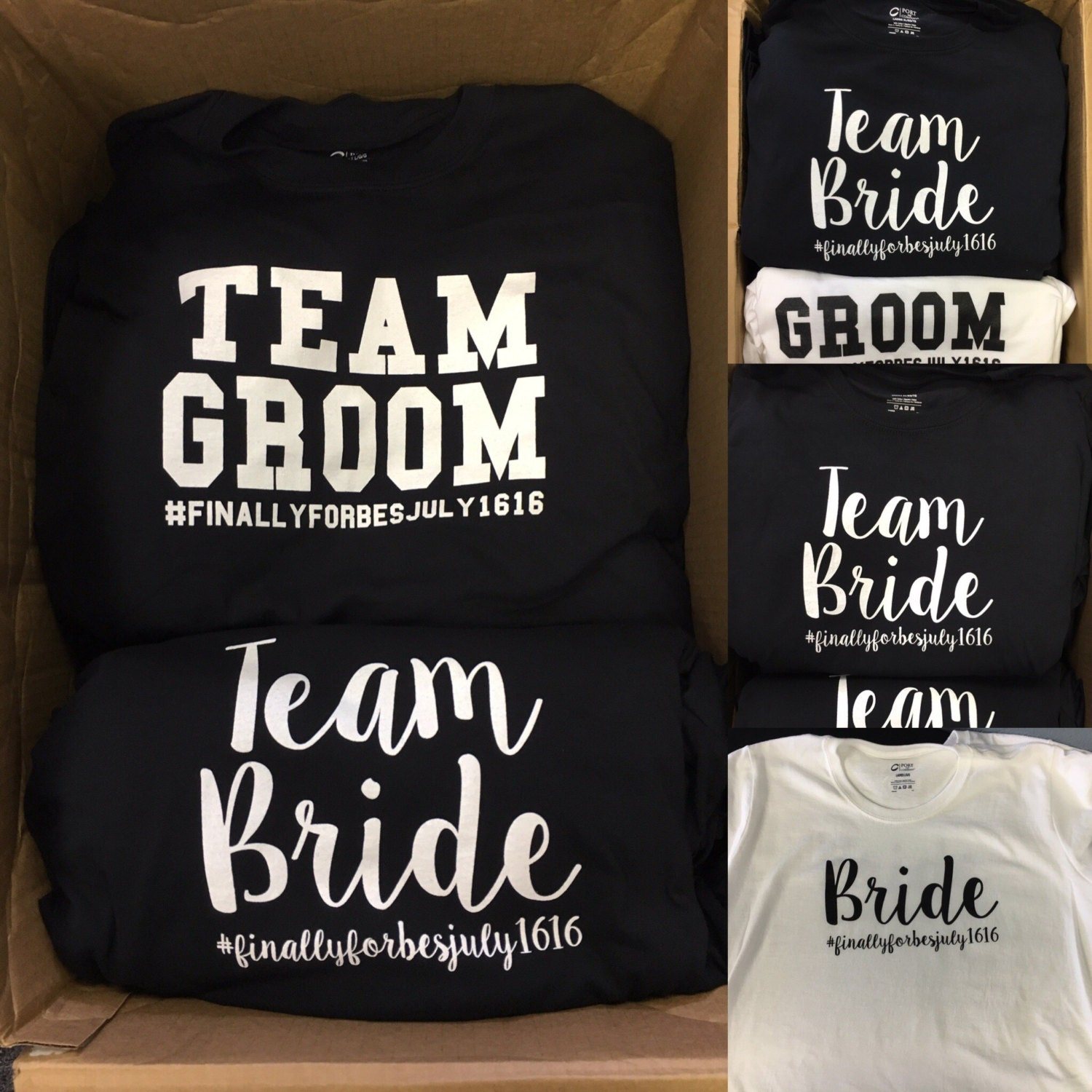 Bride and groom tshirts bridal party shirts team bride and for Novelty bride wedding dress t shirt
