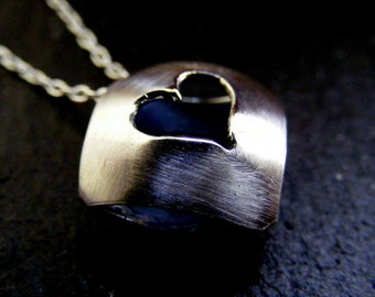 Silver Heart Necklace Bead  simple heart pendant with satin finish