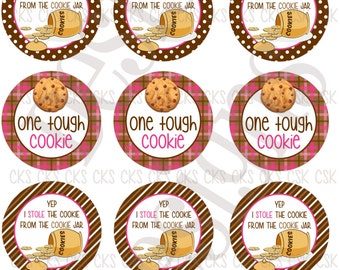 "1"" Digital Bottle Cap Sheet **INSTANT DOWNLOAD** Tough Cookie"