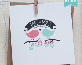 Mr and Mrs, Forever and Always, marriage, love birds, blank wedding greetings card. FREE DELIVERY!