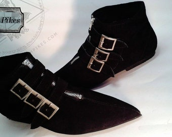 Goth Pikes x3 buckle  Winklepickers boots Gothic Batcave WGT Siouxsie 80s Leather, Vegan unisex