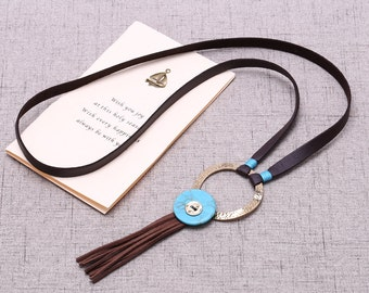Flat brown suede cord lariat necklace, blue turquoise beads necklace, circle round charm necklace, long necklace, ETS-S594
