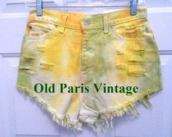Tie Dyed and Destroyed Denim Vintage Shorts Hipster Rocker Spring Green Yellow St. Patrick's Day