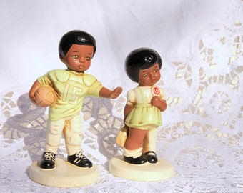 Rare Vintage African American Figurines by Twinton, Cute boy and girl figurines, 1970s vintage decoration, home decor, vintage home decor