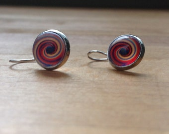Silver colorful spiral retro print earrings