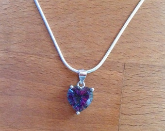 Heart-shaped Rainbow Fire Mystic Topaz Sterling Silver Snake Necklace